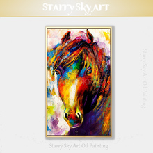 Artist Pure Hand-painted High Quality Abstract Horse Oil Painting Skin Texture Canvas Acrylic Knife