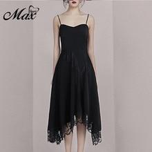 Max Spri 2019 Summer New Spaghetti Straps Fashion Sleeveless Lace Irregular Hemline Women Party A-Line Dress Solid Black