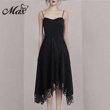Женское вечернее платье трапеция max spri черное однотонное