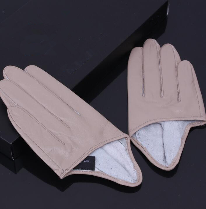 Women's Natural Sheepskin Leather Champagne Color Half Palm Gloves Female Genuine Leather Fashion Short Driving Glove R1168