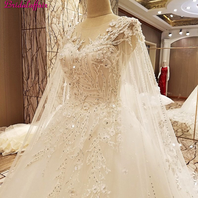 Image 5 - Real Image Luxury Wedding Dresses 2019 Vsetido De Novia With Shawl Cape Crystals Lace Beading Appliques Royal Train Bridal Gowns-in Wedding Dresses from Weddings & Events