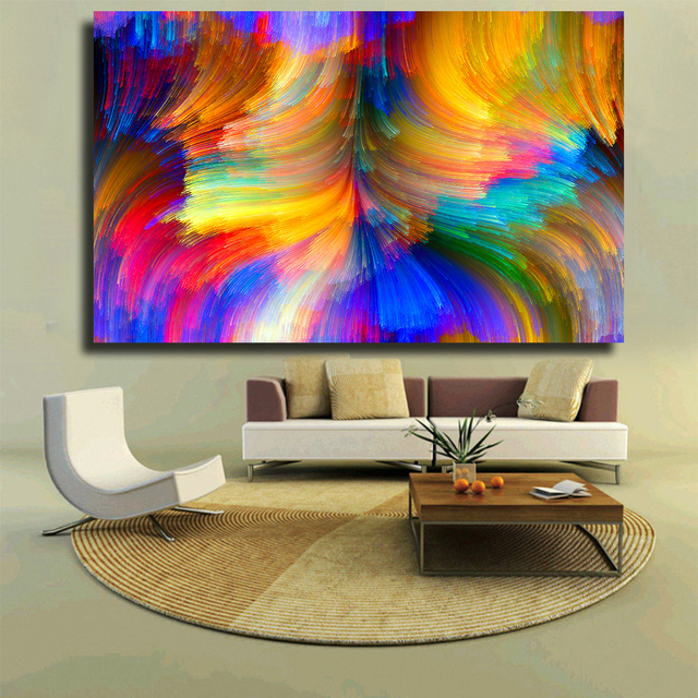 Chenfart modern canvas prints oil painting abstract abstract bright color curves wide wall art no framed