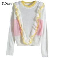 Fashion Vintage New Sweet Lotus Leaf Edge Loose Long Sleeve Pullovers Women Knitting Sweater