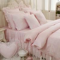Công chúa màu hồng màu xanh tím bộ đồ giường trắng đặt cô gái, twin full vua nữ hoàng nhà dệt bông giường trường hợp váy gối ủi bìa
