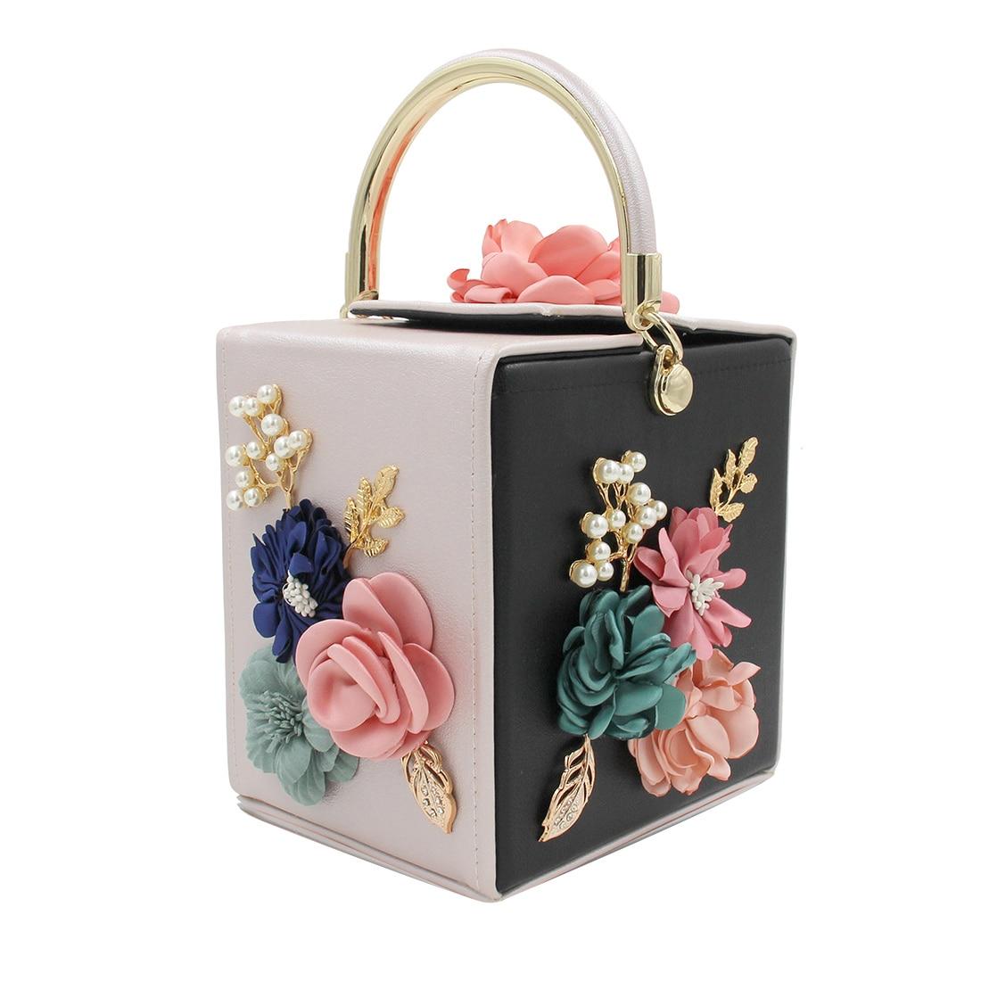 Flower-Handbag Totes Squared-Box Shoulder-Messenger-Bags Evening-Bag-Design Clutch Fashion