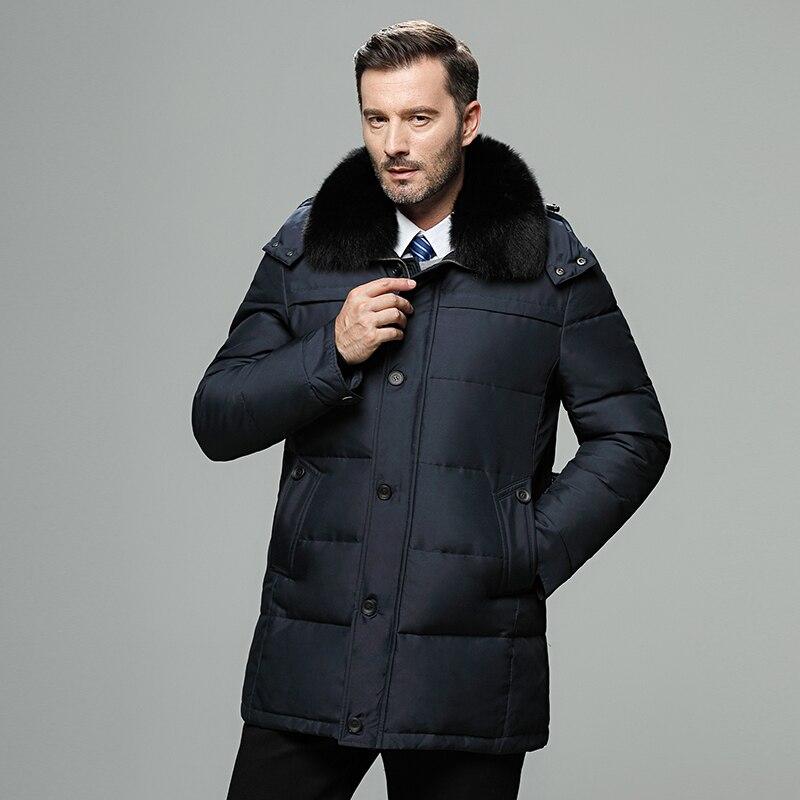 Invierno genuino piel capucha larga pato abajo chaquetas hombres a prueba de viento grueso abajo Abrigos Hombre Casual Outerwer marca abajo Parkas abrigos