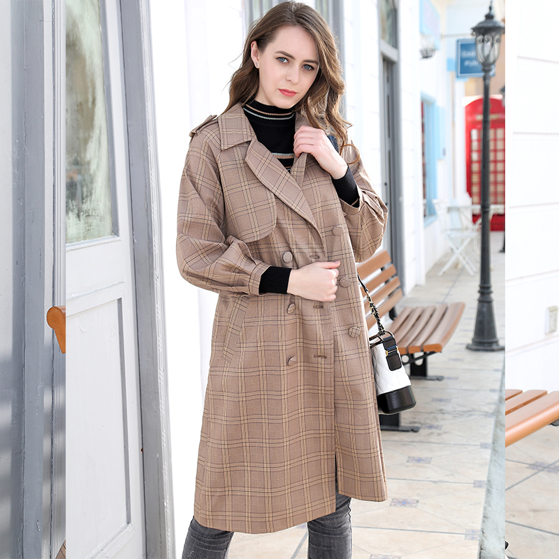 Mishow 2019 Women plaid mid-long coat long sleeve overcoat loose outwear female spring autumn   trench   coats MX18C7334