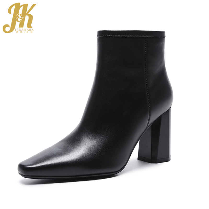 JK 2018 Spring Brand Cow Leather Ankle Boots Women Side Zipper Thick High Heels Shoes Woman Square toe High Quality Boot Female цена