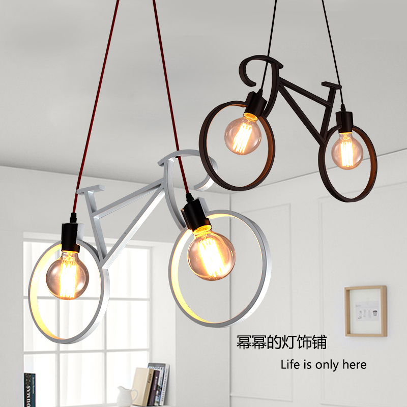 LOFT Vintage  Simple Restaurant Bar Clothing Store Meal  Bicycle  Wrought Iron Droplight