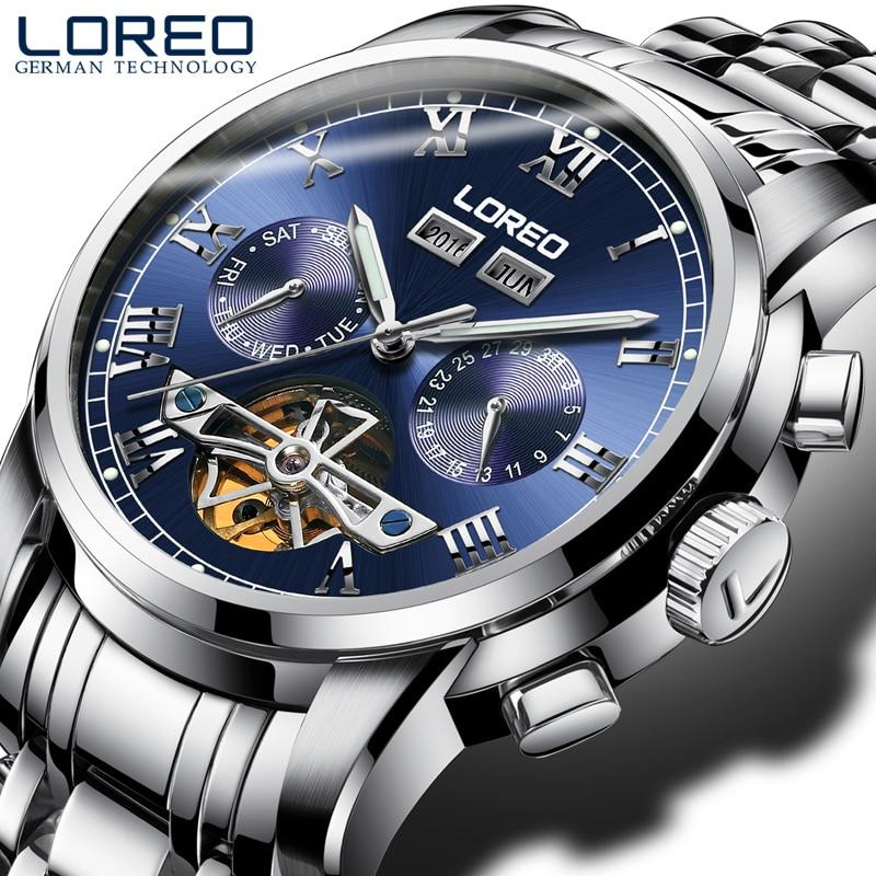 LOREO 2017 Tourbillon Business Fashion Men's Watch Automatic Mechanical Watch Hollow Luminous Waterproof blue Watch for men цена