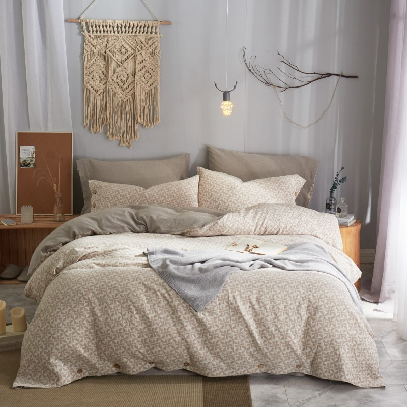 Набор постельного белья из жаккардового хлопка с двойным крашеным рисунком 60 s, роскошный комплект постельного белья размера King Queen, пододея... - 3