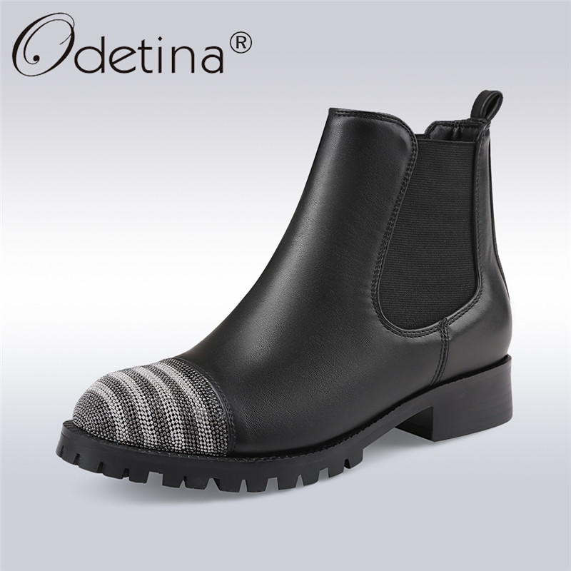 Odetina 2017 Bead Decoration Chelsea Boots Woman Black Round Toe Slip On Ankle Booties Square Low Heel Winter Shoes Plus Size 43 farvarwo formal retro buckle chelsea boots mens genuine leather flat round toe ankle slip on boot black kanye west winter shoes