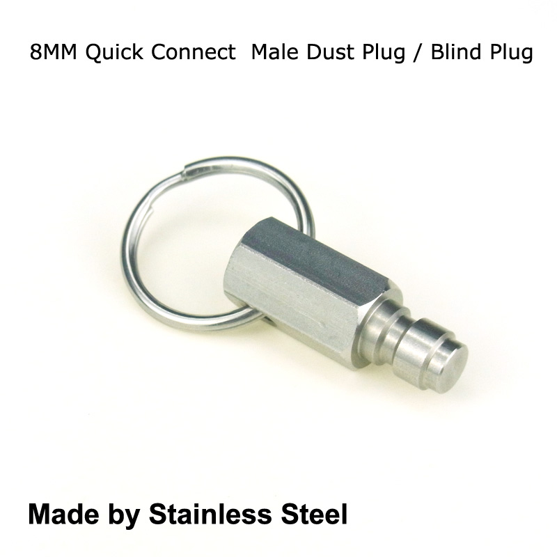 New Paintball Air Gun Airsoft PCP Connection Hex 8MM Quick Connect Stainless Steel Male Dust Plug / Blind Plug With Pendant Ring