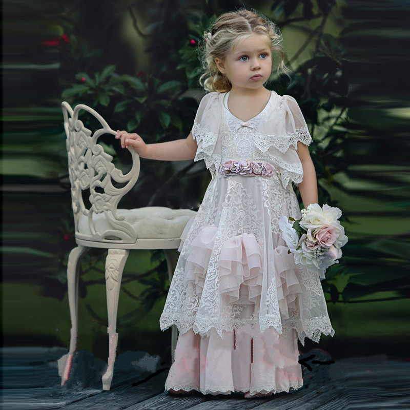 New White Lace   Flower     Girls     Dresses   for Weddings A-Line V neck   Girls   First Communion Pageant Party Gowns Vestidos Longo Any Size