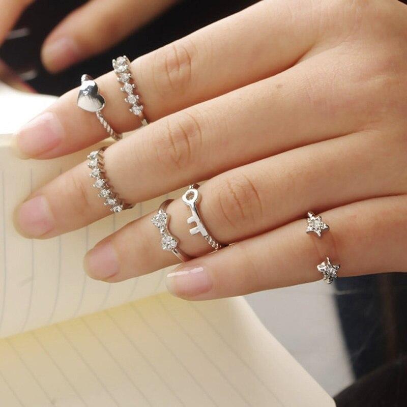 Hot Sale 6PCS/set Crystal Ring Set Korean Sweet Bowknot Heart Stars Midi Finger Knuckle Rings For Women