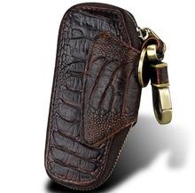 Пояса из натуральной кожи ключевой бумажник Для мужчин большой Ёмкость молния Key Holder ключница ключи Организатор