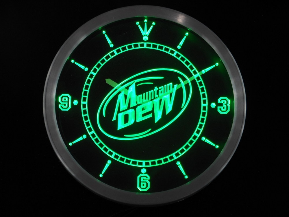 Nc0120 Mountain Dew Energy Drink Neon Sign LED Wall Clock