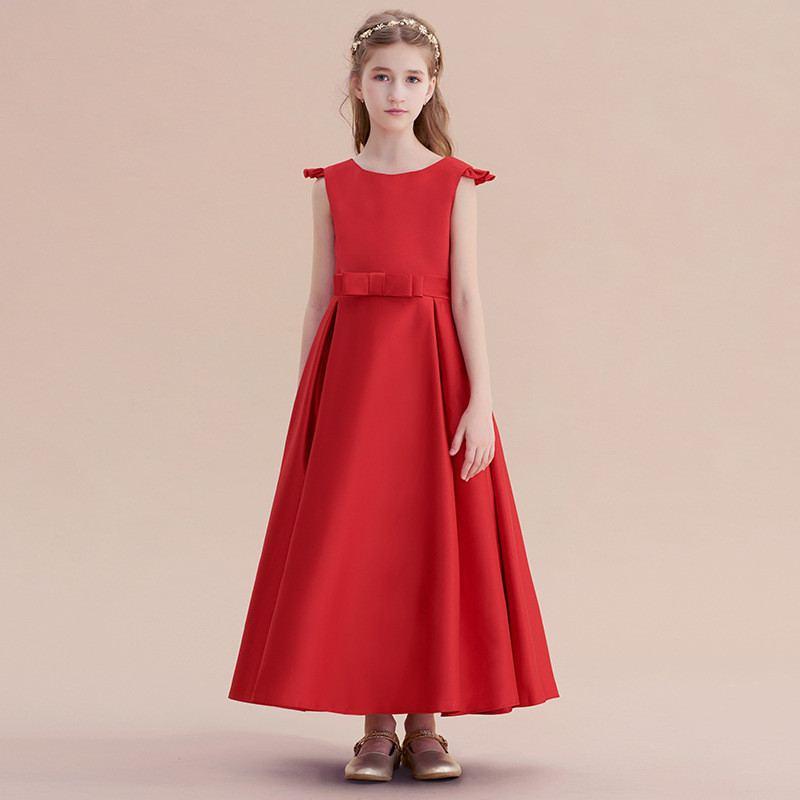 4e86de9e9ff Kids Girls Elegant Formal Wedding Party Dress Teens Girls Big Bowknot  Princess Dress Children Ruffles Solid