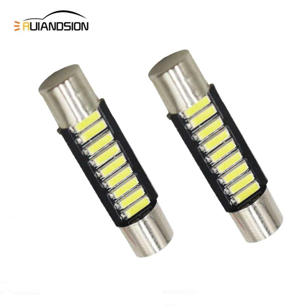 2pcs 29mm T6 31mm 9 SMD 4014 LED Lamp Bulb For Car Interior Sun Visor Vanity Mirror Fuse Light Pure White DC12V car-styling