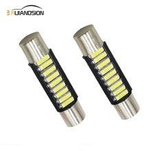 2 pces 29mm t6 31mm 9 smd 4014 lâmpada led para interior do carro viseira de sol vaidade espelho fusível luz branco puro dc12v carro-estilo