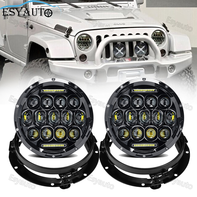 75W 7 inch Headlight Hi/Lo Beam 6000K LED Round headlamp white Angel eye Daymaker +7 headlight Bracket Ring for jeep Wrangler