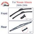 Grupo Dianteiro E Traseiro de Borracha de Silicone Wiper Blades Para Nissan Almera Hatchback 2000-2006. Brisas Nissan Acessórios