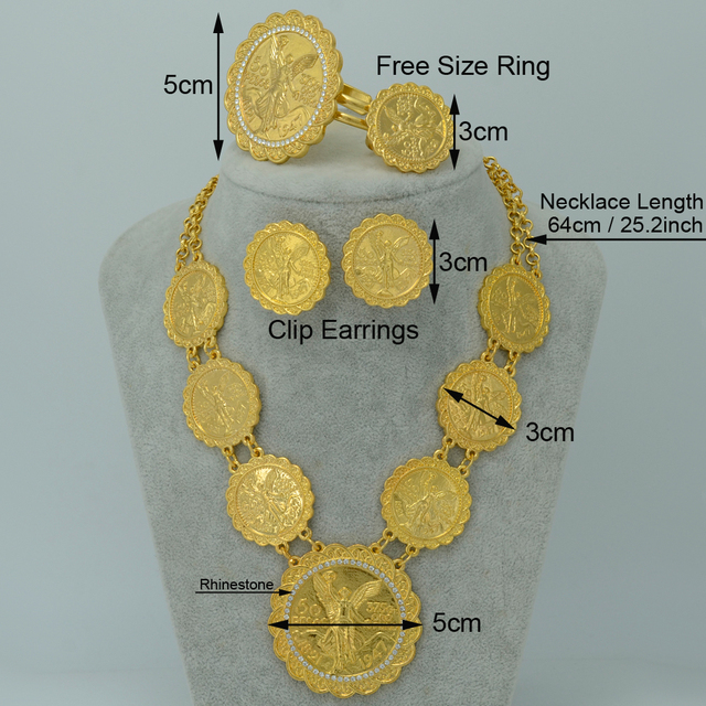 Gold Plated Coin set Jewelry for Long Necklace/Bangle/Ring/Earrings Mexico Coin/Ethiopian Wedding Gifts/African Jewelry #015706