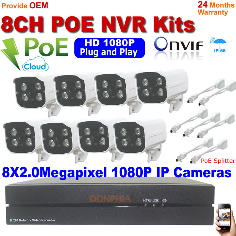 Hot Selling 8CH Onvif 2.0MP Full HD PoE NVR Kit With 1080P Array leds IP Camera P2P Cloud Service Plug&Play CCTV Securtiy System 2014 sale 4ch onvif full hd 48v real poe 80 100m nvr kits with 720p varifocal 2 8 12mm lens ip cameras p2p cloud service