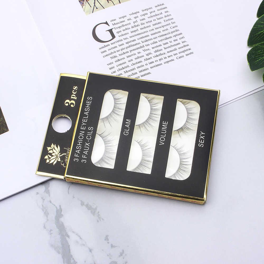 3 Pairs/box Alami Berkualitas Tinggi Lembut Tebal Curling Bulu Mata Palsu Handmade Hitam Batang Telanjang Makeup Bulu Mata Palsu