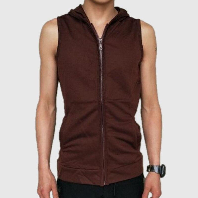 Mens Fashion Solid Color Vest Cardigan Hooded Sleeveless Vest 5 colour