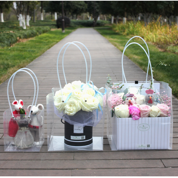 2018 New Arrival Square Portable Gift Bags With Handles Transpanrent Plastic Flower Containing Bags Food Packaging Shopping Bags