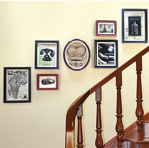 Vintage picture frames Black/White Color 7Pcs/Set Vintage Wall Photo ...