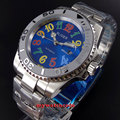 40mm Bliger quadrante blu colorized marks lunetta in ceramica data automatic mens watch104