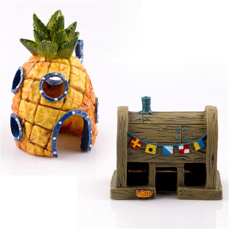 Acuario Bob Esponja Decoración Piña Casa Calamardo Isla de Pascua Estrella de Patrick Bob Esponja Figuras Decoración para el hogar