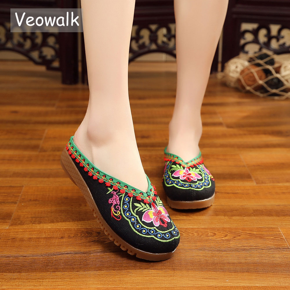 Veowalk Handmade Summer Nepal Islamic Embroidered Slippers Chinese Style Foot Slippers Flower Sandals Shoes For Women Black