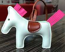 Handmade PU Leather Horse Keychain Animal Key Chain for Women Bag Backpack Handbag Tassel Keychain Charm Pendant Accessories