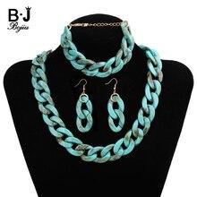 Bohemian Costume Bridal Jewelry Sets For Women Fashion Adjustable Acrylic Earrings Necklace Bracelet Luxury Set JLS002