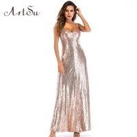 ArtSu Sexy Women Dress Sequin Maxi Party Backless Club Long Dresses Sleeveless Elegant Female Summer Vestidos ASDR21083