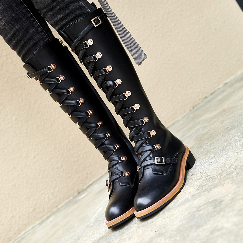 YMECHIC 2018 Autumn Black Buckle Lace Up Genuine Leather Boots Women Black Knee High Long Knight