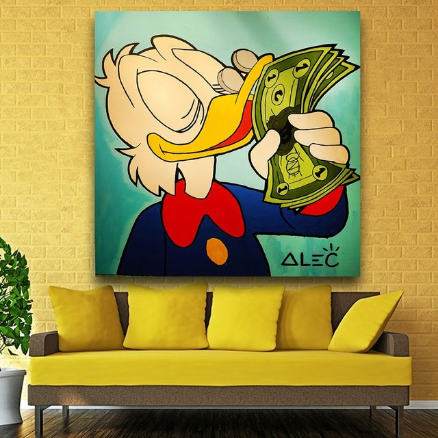 Cartoon Figure Duck Money American Style Oil Painting Frameless Spray Canvas Picture Scarf Miniature Artist No