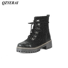 QZYERAI Autumn and winter ladies chunky Martin boots fashion womens shoes womens boots