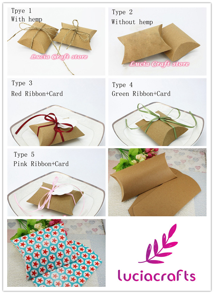 SALE! Lucia Crafts Kraft paper cute pillow shape Wedding Gift Box Party Candy Box multi types options 12pcs/lot 19040012