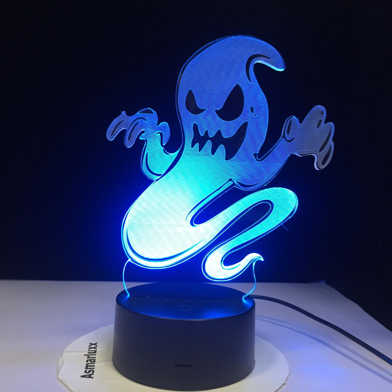 Ghost Smoke 3D LED Night Light Changing Lamp Halloween Skull Light Acrylic 3D Hologram Illusion Desk Lamp For Kids Gift Dropship