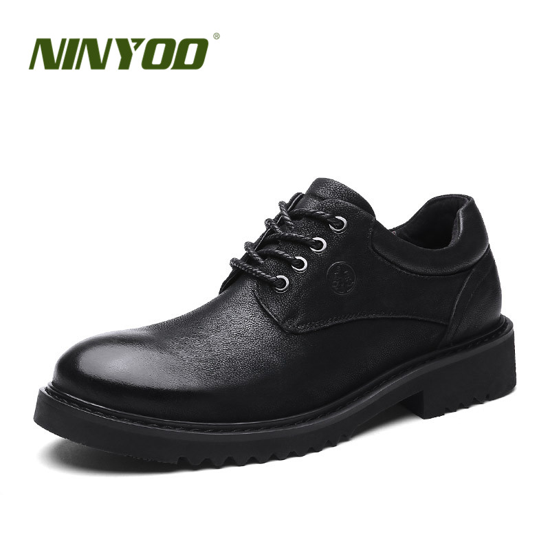 NINYOO Autumn Men's Business Shoes Genuine Leather Shoes 46 47 Wearproof Platform Shoes Black Men Formal Shoes Big Size48 49 50