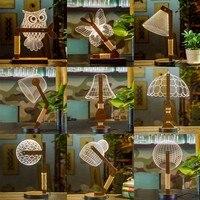 Wooden Owl LED 3D Nightlight Visual Led Night Lights for Home Desk Night light for Child Gift USB Table Lamp Nightlight