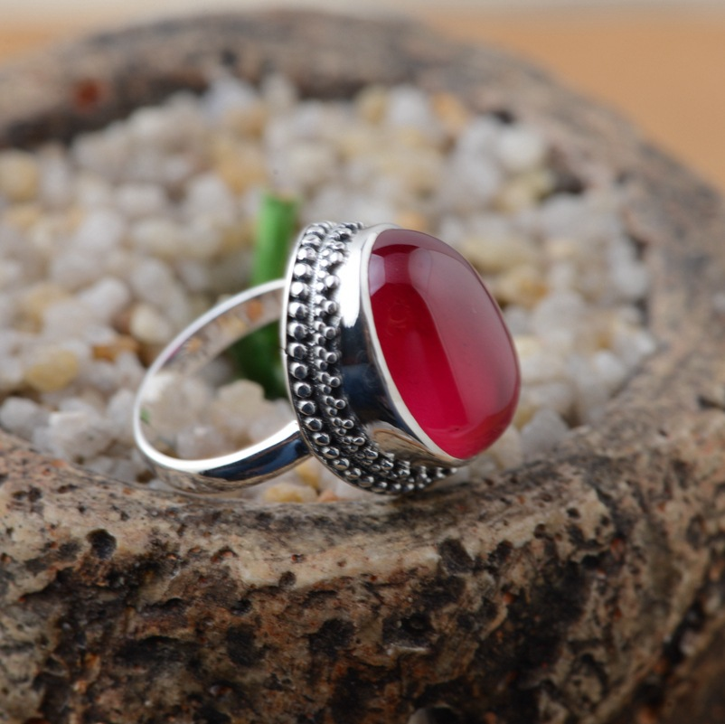 Red corundum ring S925 silver inlaid silver antique style female hand woven elliptic explosion models s925 silver antique style men open world peace ring
