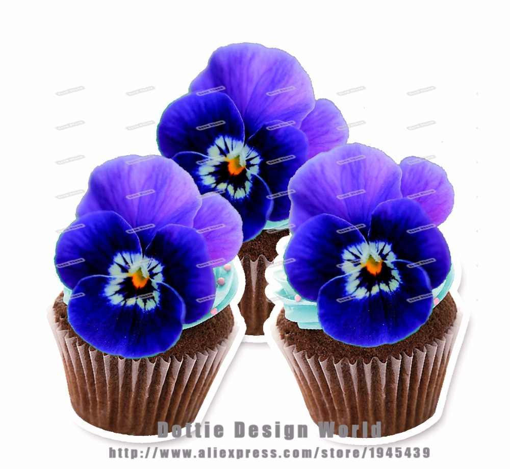 24 Navy Blue Pansy Flower Edible Cake Topper Wafer Rice Paper Pancies Cupcake Topper Birthday Wedding Cake Decoration Supply