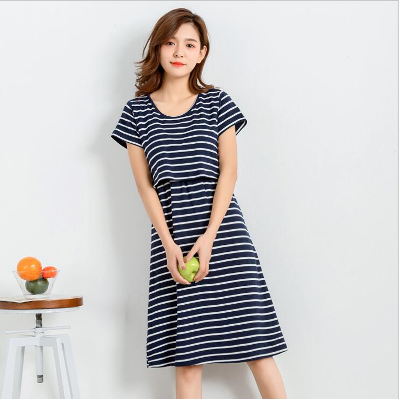 Womens Breastfeeding Nursing dress O-Neck Short Sleeve Striped Dress Free Shipping
