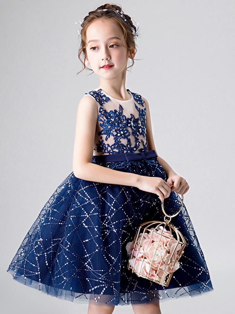 Girls dress embroider tulle wedding party dress for kids girls princess dress vestido infantil evening formal dresses for girls in Dresses from Mother Kids