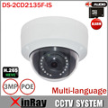 HIK DS-2CD2135F-IS 3MP IP Camera Support H.265 HEVC TF Card Slot &Two Way Audio Mini Dome POE IP CCTV Camera